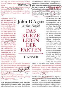 John D' Agata und Jim Fingal: Das kurze Leben der Fakten.Carl Hanser Verlag.176 Seiten,19,90 Euro. ISBN-10: 3446241388
